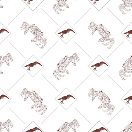 Seamless pattern with crabs and shrimps on a white background. Vector illustration Ilustracja