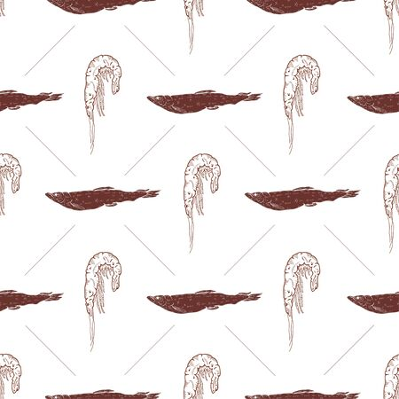 Seamless pattern with fish and shrimps on a white background. Vector illustration