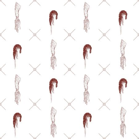 Seamless pattern with shrimps and squids on a white background. Vector illustration