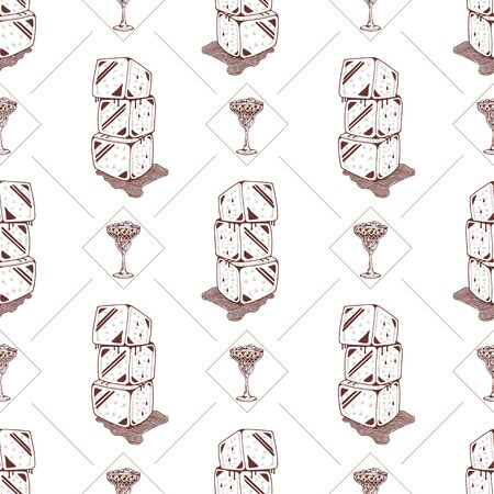 Seamless pattern with ice cubes and cocktails on a white background. Vector illustration