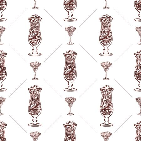 Seamless pattern with drinks and ice on a white background. Vector illustration