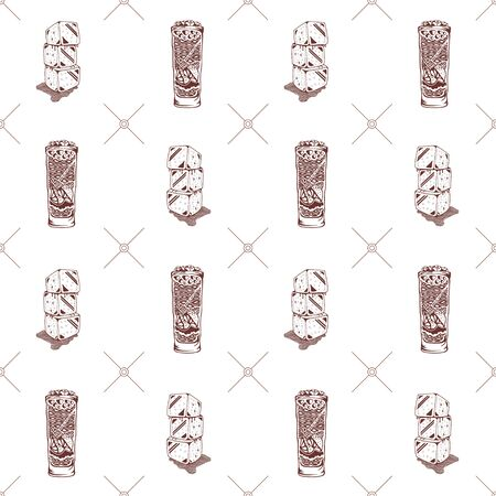Seamless pattern with ice cubes and glasses on a white background. Vector illustration Ilustração