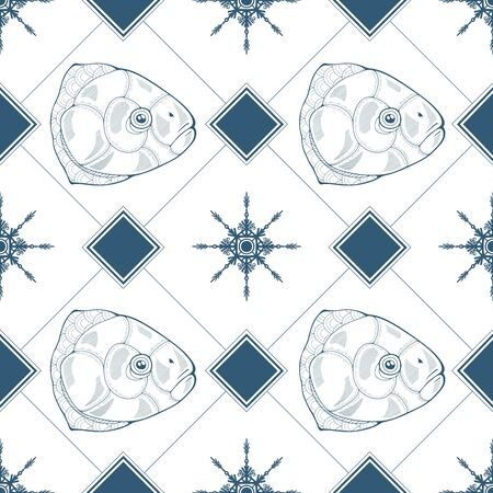 Seamless pattern with fish heads, rhombuses and snowflakes in blue color. Vector illustration