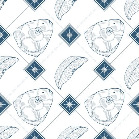 Seamless pattern with fish heads, slices fish and snowflakes in blue color. Vector illustration Vektorové ilustrace