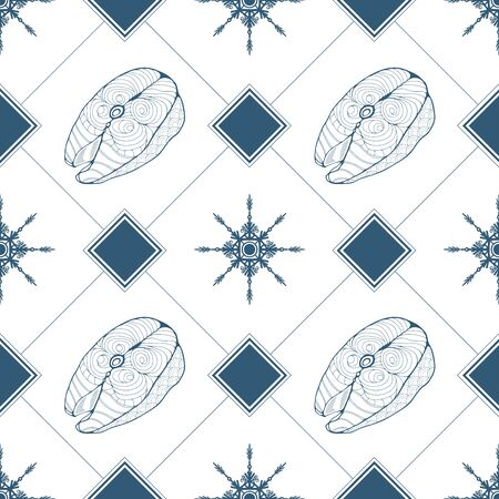 Seamless pattern with fish steaks, rhombuses and snowflakes in blue color. Vector illustration