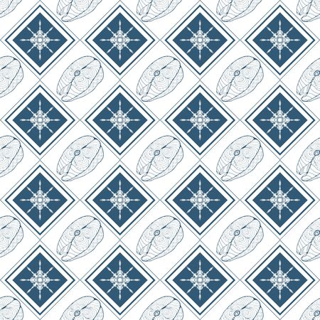 Seamless pattern with fish steaks and snowflakes enclosed in rhombuses on a white background. Vector illustration