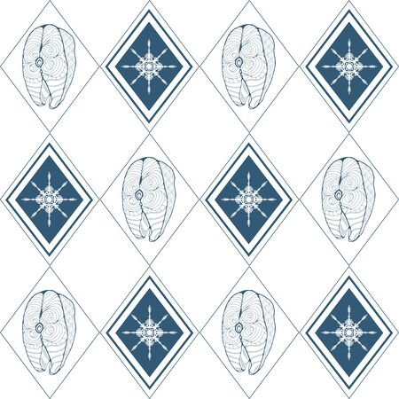 Seamless pattern with fish steak and snowflake in the middle of rhombuses on a white background. Vector illustration