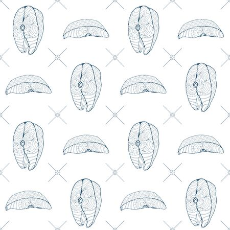 Seamless pattern with fish steaks and fish ?hunks on a white background. Vector illustration Vektorové ilustrace