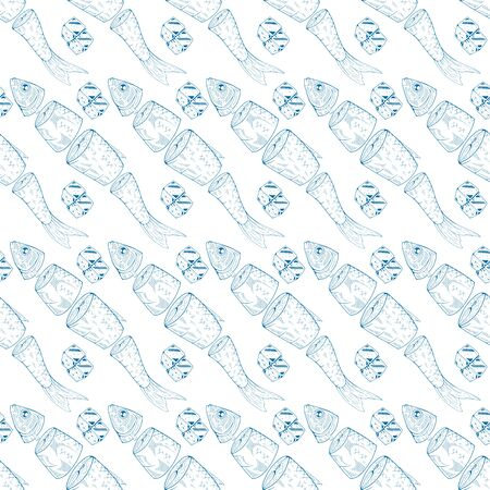 Seamless pattern with ice and sliced fish on a white background. Vector illustration