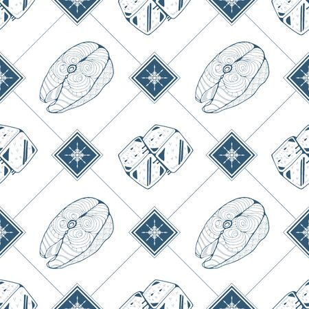 Seamless pattern with fish steak and ice cubes in blue color. Vector illustration Фото со стока - 129818544