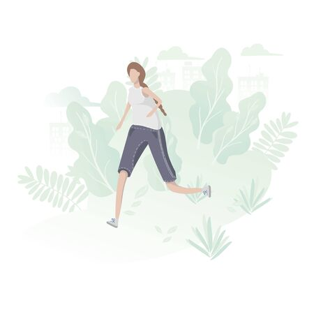 Girl jogging in the park outdoors. Cartoon Flat Vector Illustration  イラスト・ベクター素材