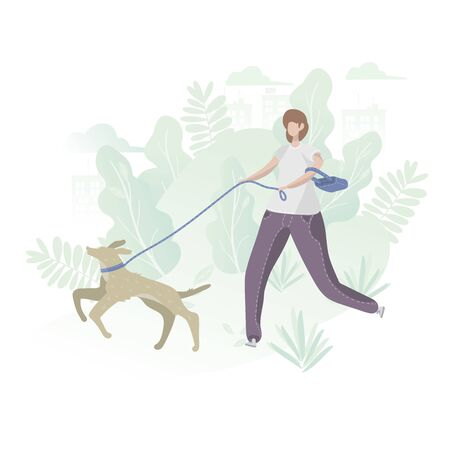 A woman on a walk with a dog in the park outdoors. Cartoon Flat Vector Illustration 벡터 (일러스트)