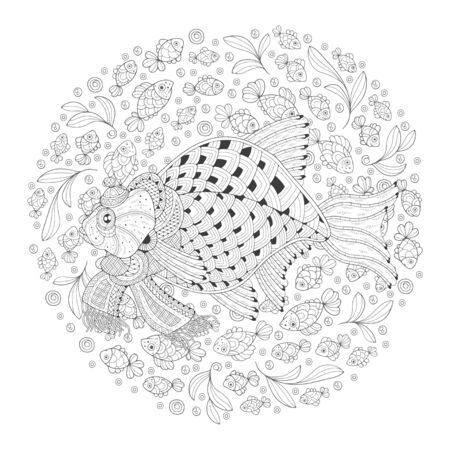 Freehand drawing with crucian carp in a scarf. Image for coloring. Coloring book.