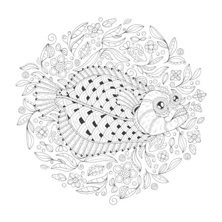 Freehand drawing with a flatfish in the midst of algae. Image for coloring pages. Coloring book. Illustration