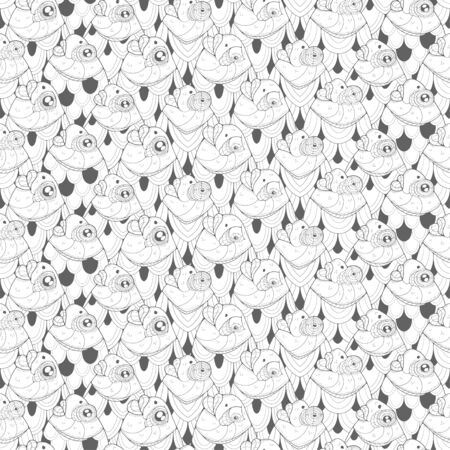 Seamless pattern with cute fish. Image for coloring pages. Coloring book.