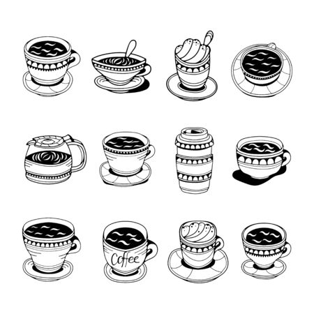 Cute set of coffee cups. Doodle vector illustration. Isolated on white background. Vetores