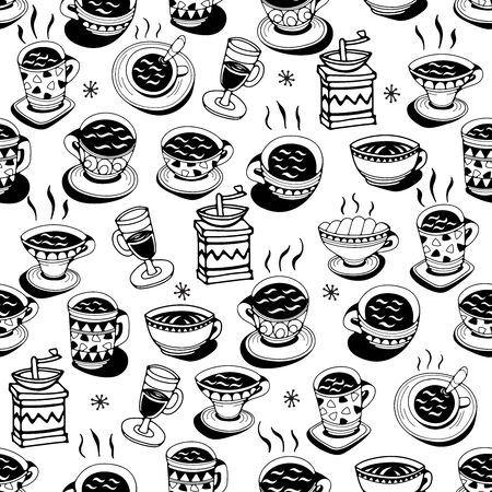 Seamless pattern with coffee cups on a white background. Doodle vector illustration. Векторная Иллюстрация