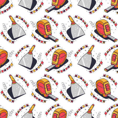 Tape measures and putty knives. Seamless pattern on a white background. Cute vector illustration.