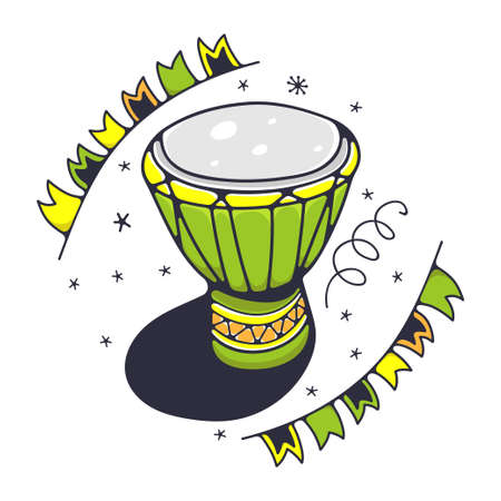 Cute illustration with African drum. Isolated on a white background. Vector doodle illustrations. Ilustração Vetorial