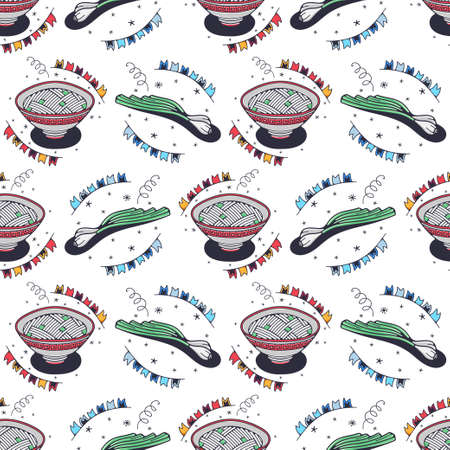 Green onions and bowls of noodles. Seamless pattern on a white background. Cute vector illustration.