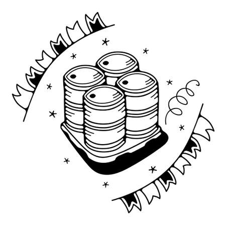 Vector illustration with barrels. Isolated on a white background. Cute doodle illustrations.