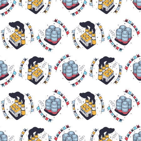 Barrels and factories. Seamless pattern on a white background. Cute vector illustration.