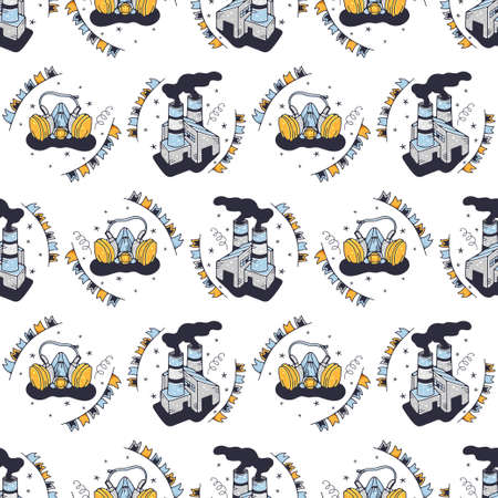 Factories and respirators. Seamless pattern on a white background. Cute vector illustration.