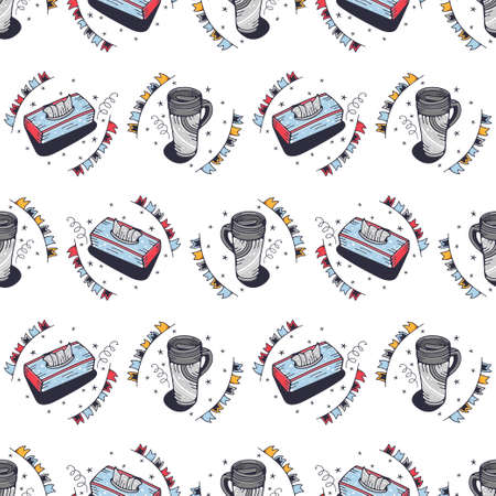 Thermo mugs and napkins. Seamless pattern on a white background. Cute vector illustration.