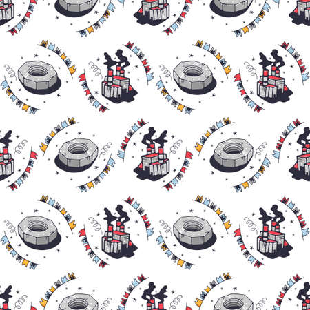 Nuts and factories. Seamless pattern on a white background. Cute vector illustration.