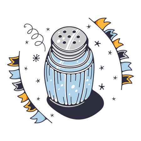 Cute illustration with a salt shaker. Isolated on a white background. Vector doodle illustrations.