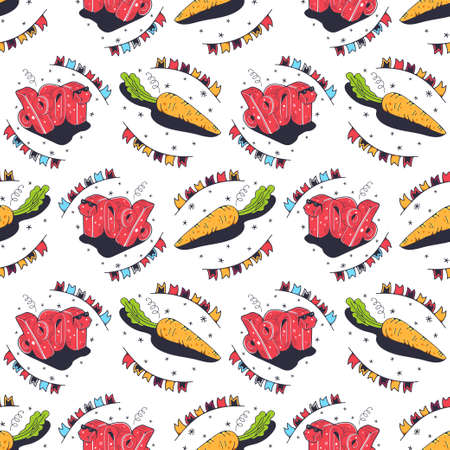 Carrots and 10%. Seamless pattern on a white background. Cute vector illustration.