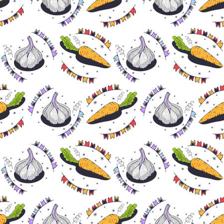 Carrots and garlic. Seamless pattern on a white background. Cute vector illustration.