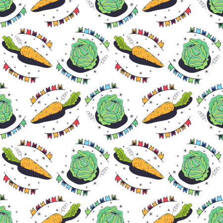 Cabbage and carrots. Seamless pattern on a white background. Cute vector illustration. Illusztráció