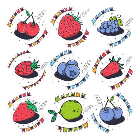 Set of berries. Cute vector illustration.