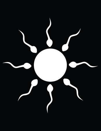 The black and white sun sperm Vector