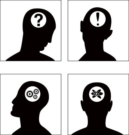 minded: the vector head symbol set (EPS8) Illustration