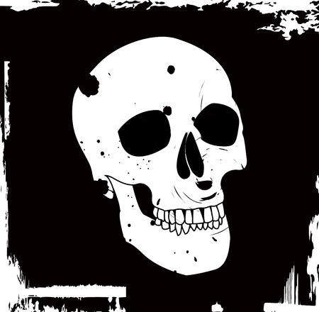 evil face: grunge vector skull