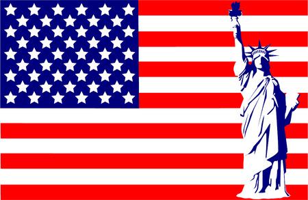 Statue of Liberty on the flag USA Vector
