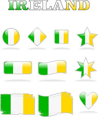 vector ireland flags button eps 8 Vector