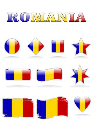 romania flags button eps 8 Vector