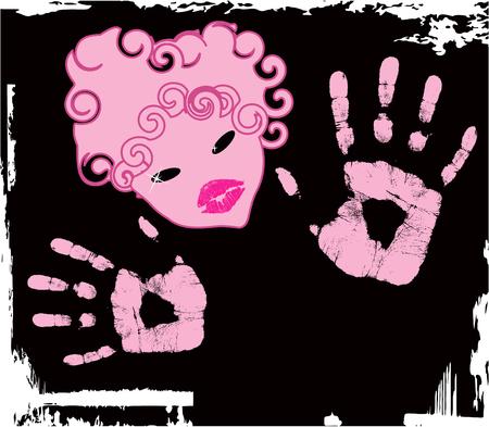 vector abstract pink girl Stock Vector - 4174109