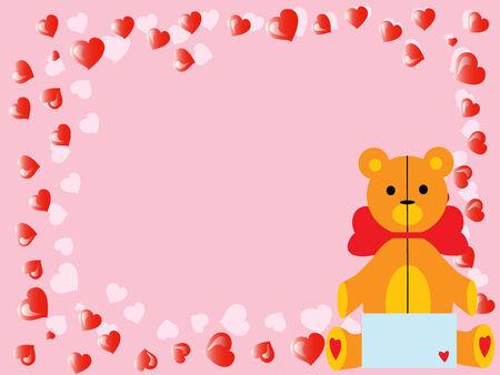 vector valentine`s teddy bear on pink 8