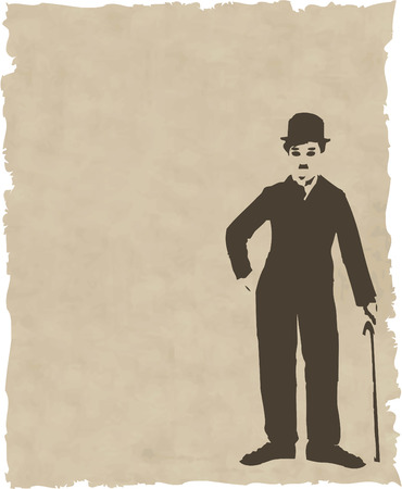 vector brown silhouette chaplin on old paper Vector