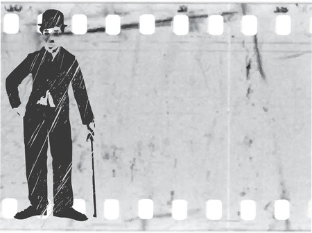 vector silhouette chaplin on old film Stock Vector - 4402946