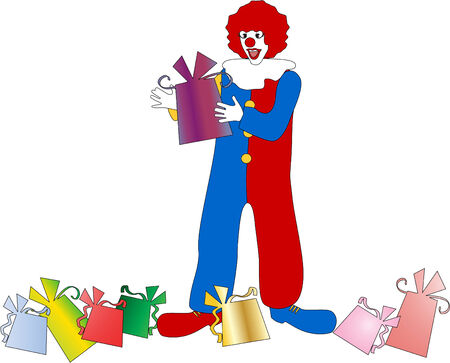 The vector clown with a gift 8 Stock Vector - 4402919