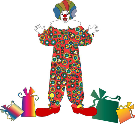 stylistic embellishments: The vector clown with a gift 8 Illustration