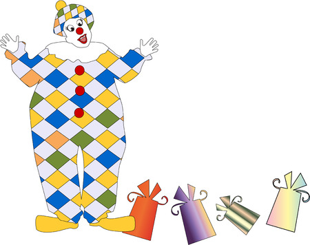 The vector clown with a gift 8 Stock Vector - 4402920