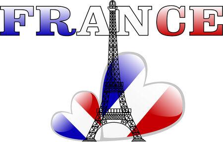 the vector eiffel tower and france flag heart Vector
