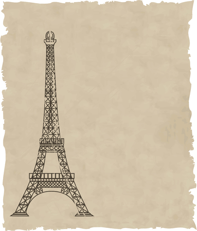 the vector eiffel tower on old paper Vector