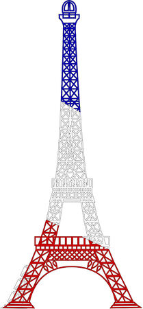 french flag: the vector eiffel tower Illustration
